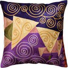 Klimt Navy Purple Decorative Pillow Cover Handembroidered Art Silk