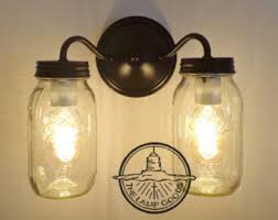 vintage clear canning jar double sconce light wall mount