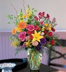 Flower Arrangements For Tall Vases B 15 Mixed Flower Arrangement In A Tall Vase Flowers And Colors