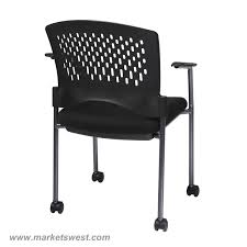 Office Rolling Chairs by Pro Line Ii Titanium Finish Rolling Black Visitors Chair With