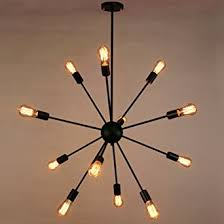 Black Hanging Light Fixture Sputnik Chandelier Naturous 12 Lights Pendant Lighting Painted