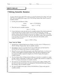 math skills writing scientific notation 9th 11th grade worksheet