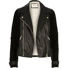 river island black premium leather and suede biker jacket in black