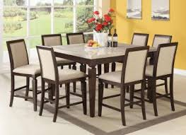acme agatha 9pc white marble top counter height dining room set in