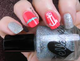 neon and sparkly nautical nail art be happy and buy polish