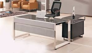 modern glass top office table design with wooden side table buy