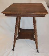 Antique Oak Wood Parlor Table W Glass Ball Claw Foot W Shelf