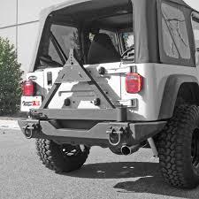 cj jeep rugged ridge 11546 42 tire carrier xhd rear bumper 76 06 jeep cj
