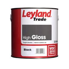 Black Exterior Gloss Paint - leyland trade interior u0026 exterior black gloss wood u0026 metal paint