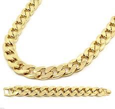 necklace chains hip hop images Mens gold plated cuban hip hop miami necklace chain bracelet jpg
