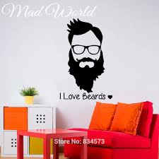 home decor wall art stickers barber shop hipster face i love beards wall art sticker decal home