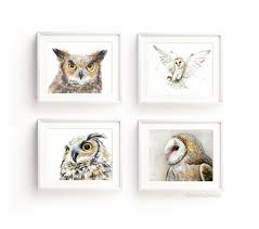 owl art prints owl watercolor wall art owl painting great