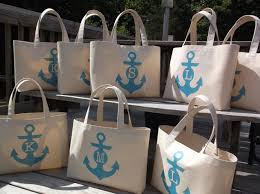 nautical tote set of 8 anchor monogram wedding tote bag personalized