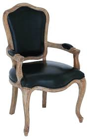 Wooden Armchairs French Wood Chair Padded Arm Rests Black Leather Home Furniture