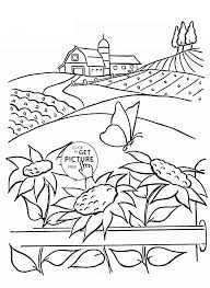 summer and sunflowers coloring page for kids flower coloring
