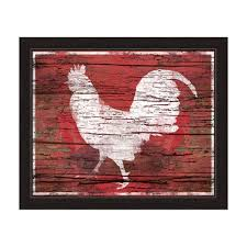 Rooster Kitchen Canisters Amazon Com Red Distressed Wood Textured White Rooster Silhouette