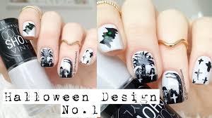 halloween grave yard u0026 bat nail art tutorial youtube