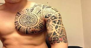 chest and half sleeve tattoo design of tattoosdesign of tattoos