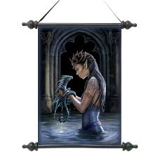dragon bedroom decor ideas design toscano gothic water dragon canvas wall scroll tapestry