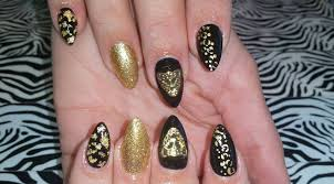 acrylic nails l black u0026 gold animal print l nail design youtube