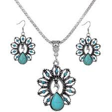 peacock turquoise jewelry set bohemia style peacock turquoise necklace and earrings