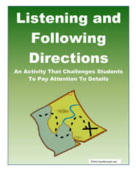 Challenge Directions Listening And Following Directions Activity With Lesson Plan By
