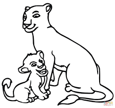 baby lion and lioness coloring page free printable coloring pages