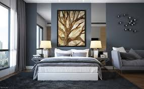 blue and gray bedroom walls single bed black modern nightstand