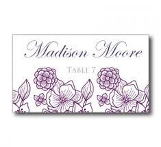 wedding place card template flowers purple silver instant
