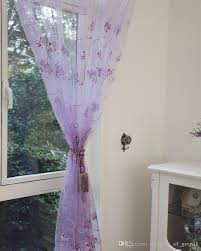 embroidered window sheer curtains voile for living room bedroom