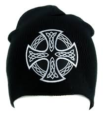 celtic iron cross beanie alternative style clothing knit cap sons