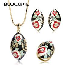 white necklace images Blucome high quality big pendant necklace earrings ring set white jpg