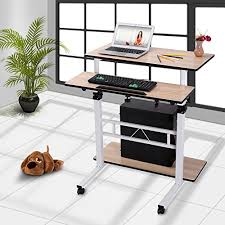 Small Maple Computer Desk Burei Workstation Height Adjustable Computer Desk For Small Spaces