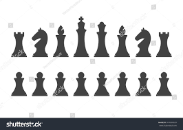 White Chess Set Set Chess Pieces Isolated On White Stock Vector 474830629