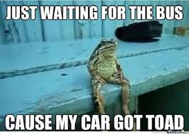 Waiting Meme - just waiting for the bus cause my car got toad meme boomsbeat