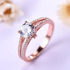 1 carat engagement rings carat engagement ring gold split shank in 925 sterling silver