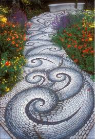 homeofficedecoration river rock garden path