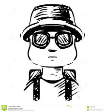 cartoon vacation man with bag stock vector image 31857884