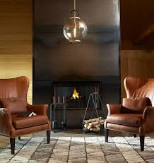 clinton modern wingback chair leather saddle stocked d4545