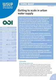getting to scale in urban water supply water u0026 sanitation for