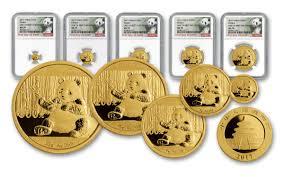 set of gold 2017 china gold panda 5 coin prestige set ngc ms70 fdi govmint