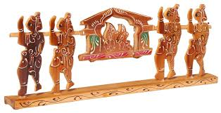 Home Decoration Items India Showpiece Of A Palanquin With Four Bearers U2013 Handcrafted In Bamboo