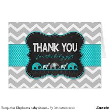 turquoise elephants baby shower thank you notes baby shower