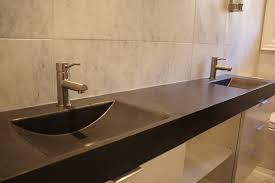bronze resin floating undermount trough bathroom sink with chrome