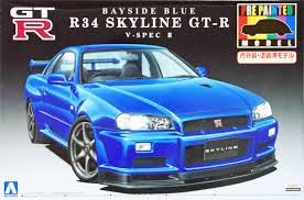nissan skyline engine aoshima 08591 nissan r34 skyline gt r v spec ii bayside blue 1 24