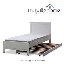 dallas solid rubber wood mdf white single king single bed frame
