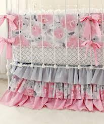 Pink Gray Fawn Baby Bedding Set Girls Pink Deer Woodland Nursery