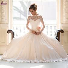 the shoulder ball gown tulle wedding dress with long lace sleeves