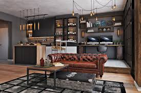 Industrial Style  Modern Bachelor Apartment Design Ideas - Bachelor apartment designs