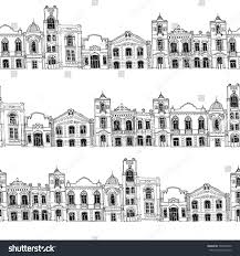 seamless pattern different houses background line stock vector